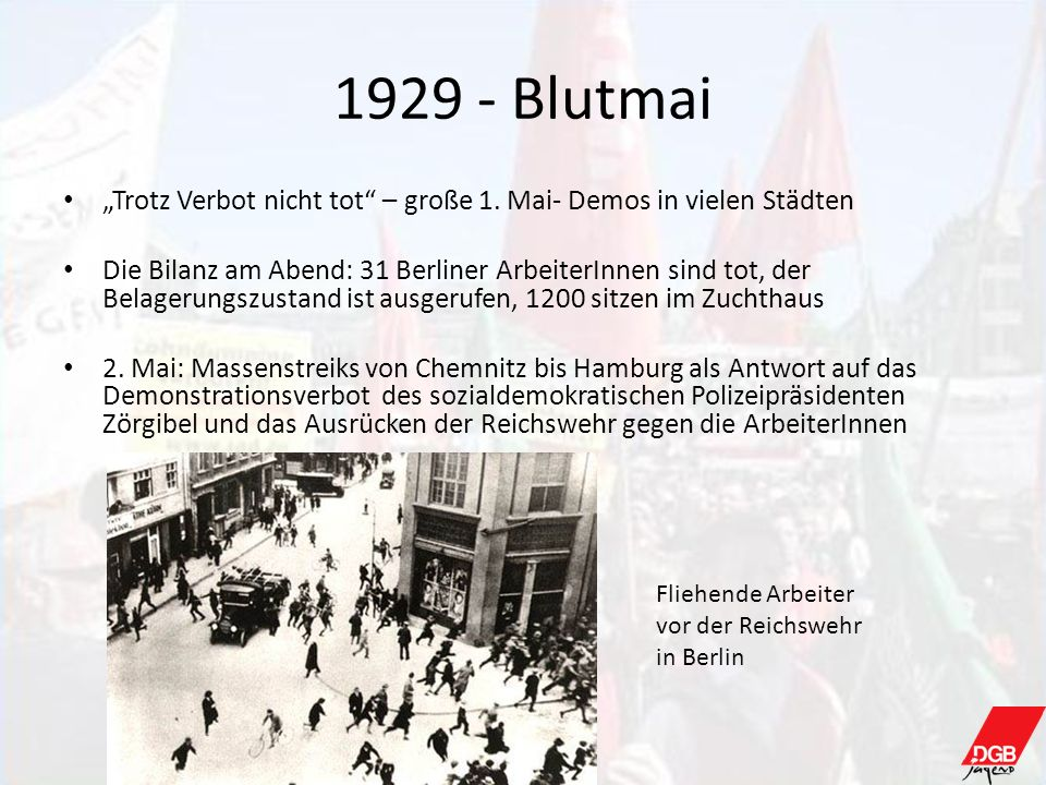 """1929 - Blutmai """"Trotz Verbot nicht tot – große 1. Mai- Demos in vielen Städten."""