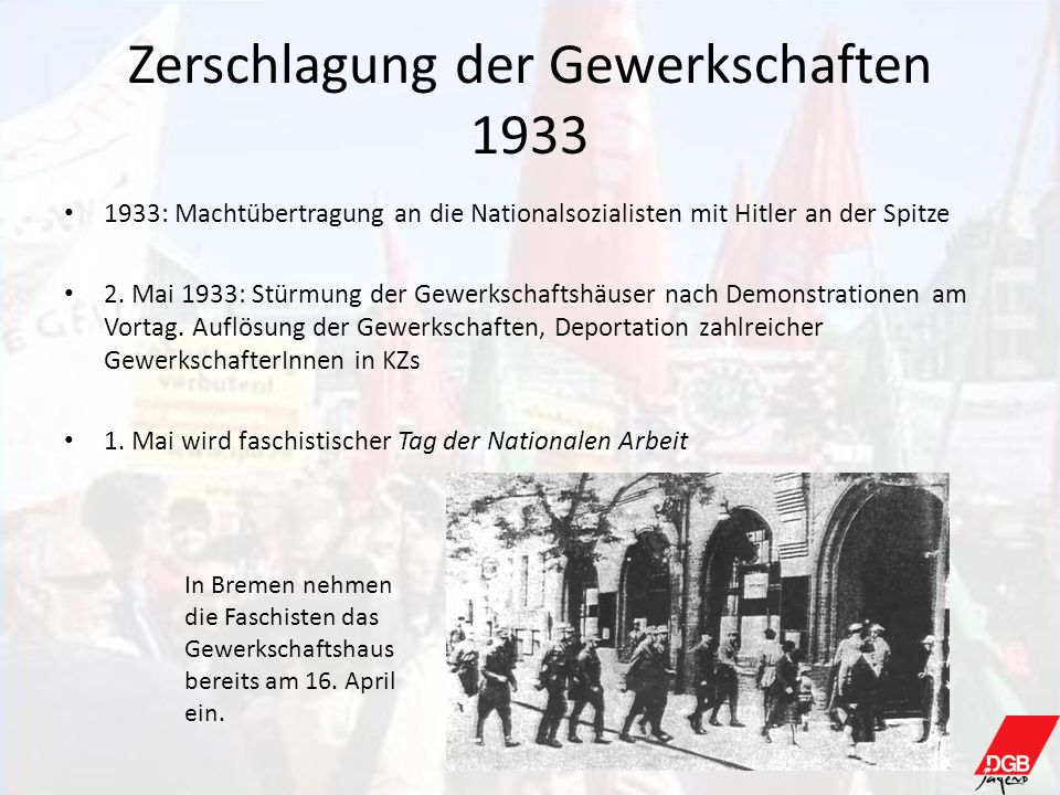 Zerschlagung der Gewerkschaften 1933