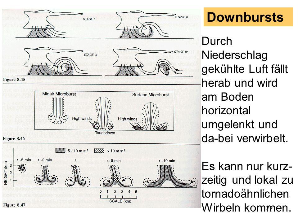 Downbursts Durch Niederschlag gekühlte Luft fällt herab und wird am Boden horizontal umgelenkt und da-bei verwirbelt.