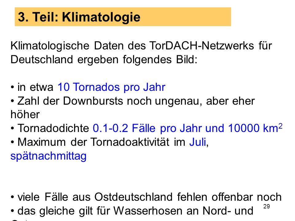3. Teil: Klimatologie Klimatologische Daten des TorDACH-Netzwerks für Deutschland ergeben folgendes Bild: