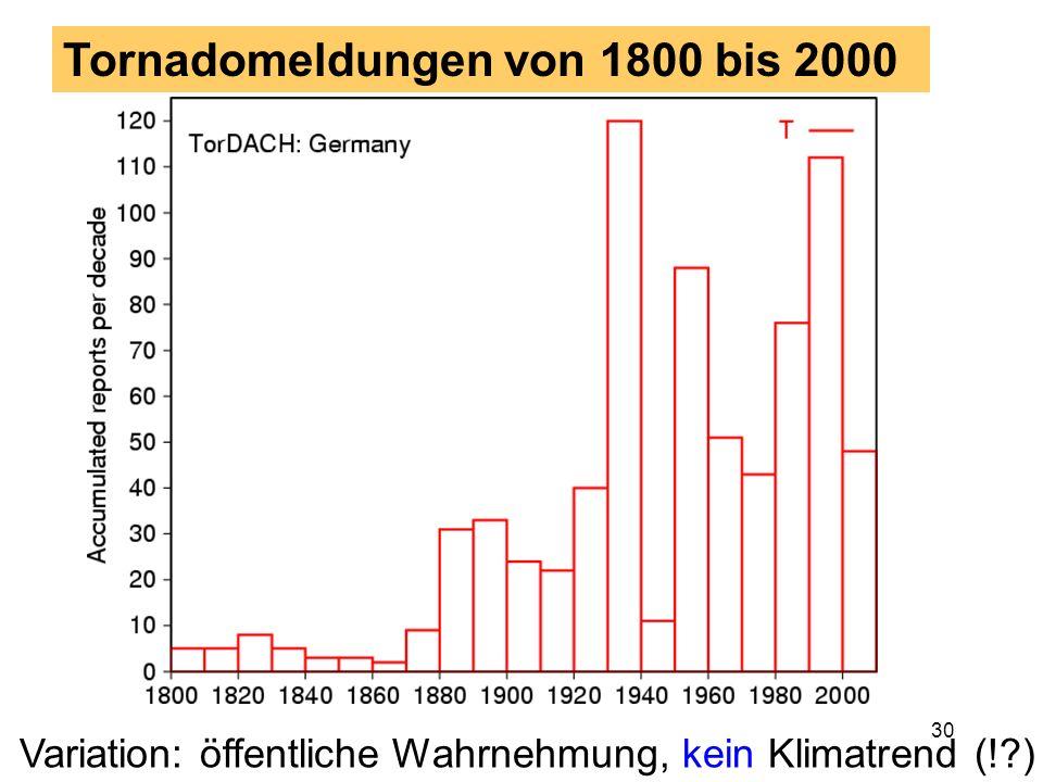 Tornadomeldungen von 1800 bis 2000