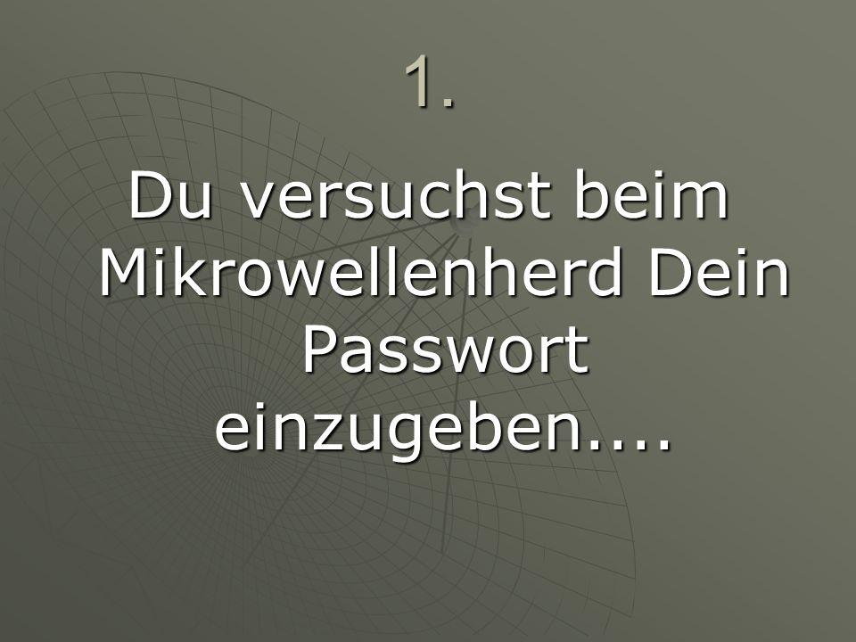 Du versuchst beim Mikrowellenherd Dein Passwort einzugeben....