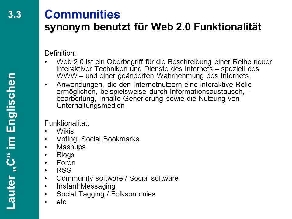Communities synonym benutzt für Web 2.0 Funktionalität
