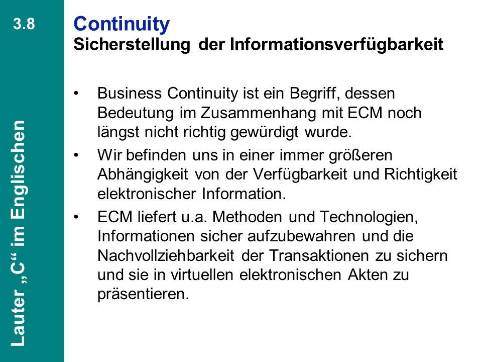 Continuity Sicherstellung der Informationsverfügbarkeit