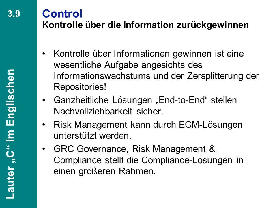 Control Kontrolle über die Information zurückgewinnen