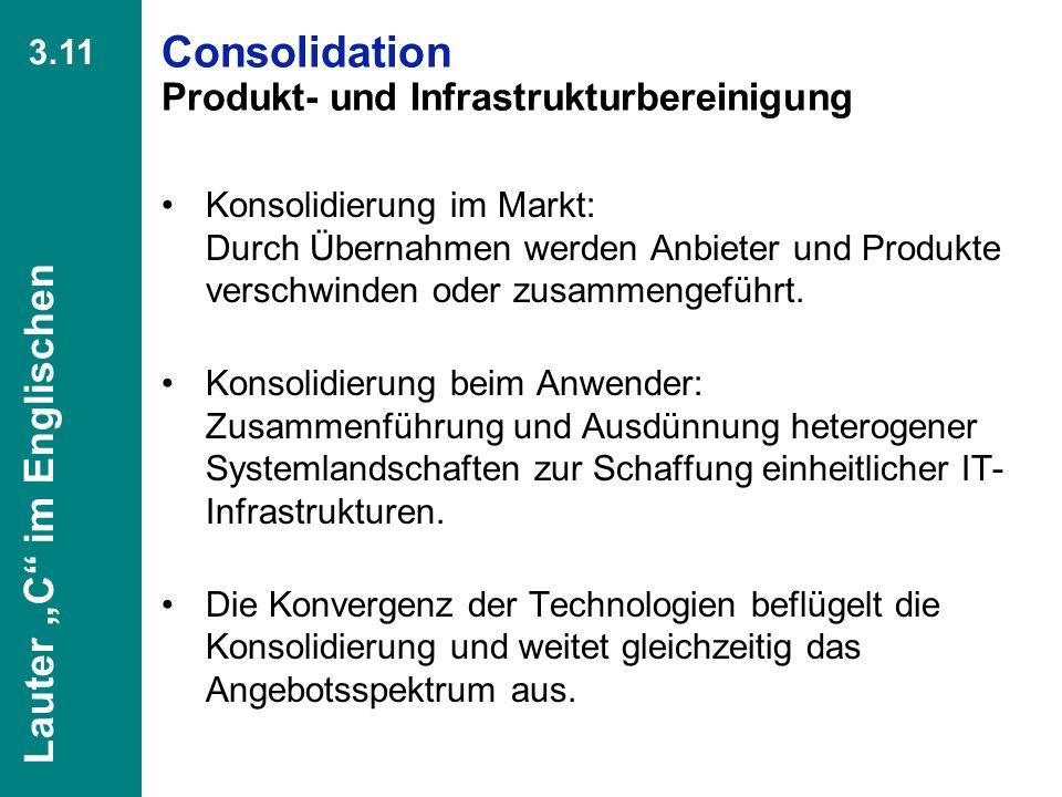 Consolidation Produkt- und Infrastrukturbereinigung