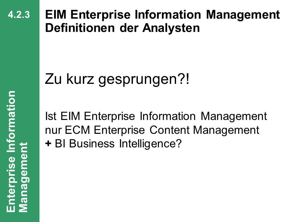 EIM Enterprise Information Management Definitionen der Analysten
