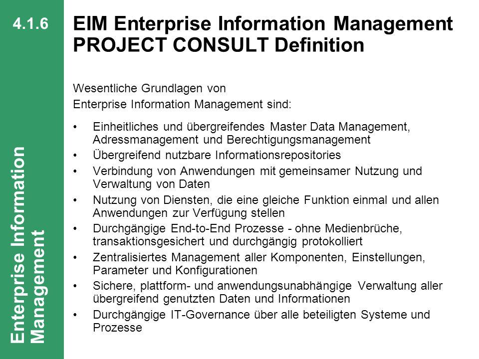 EIM Enterprise Information Management PROJECT CONSULT Definition