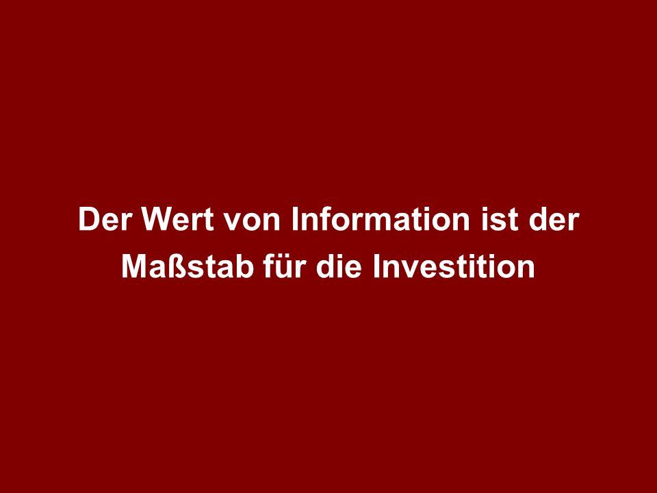 Der Wert von Information ist der Maßstab für die Investition