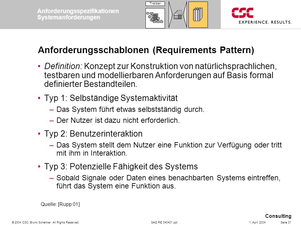 Anforderungsschablonen (Requirements Pattern)