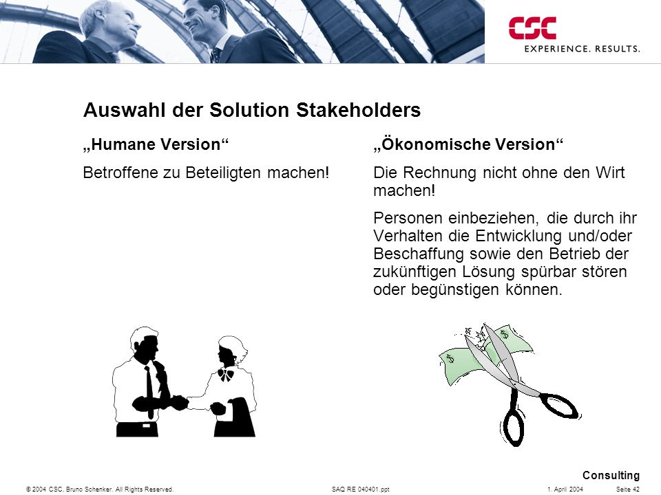 Auswahl der Solution Stakeholders