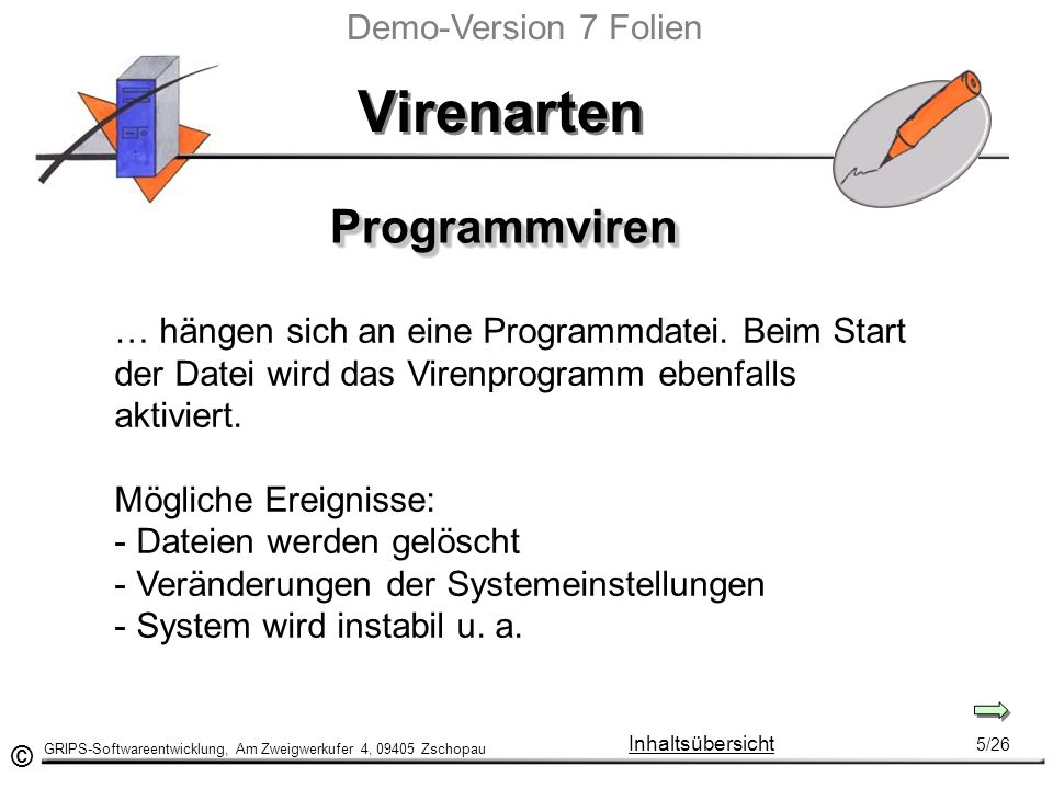 Virenarten Programmviren Demo-Version 7 Folien