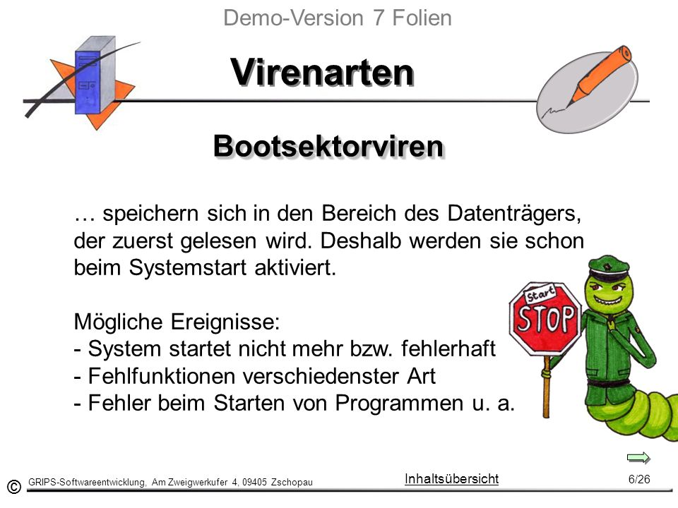 Virenarten Bootsektorviren Demo-Version 7 Folien