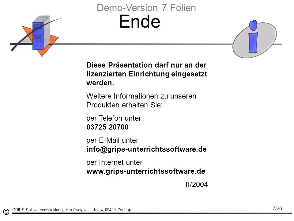 Ende Demo-Version 7 Folien