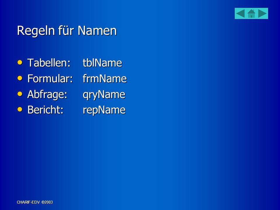 Regeln für Namen Tabellen: tblName Formular: frmName Abfrage: qryName