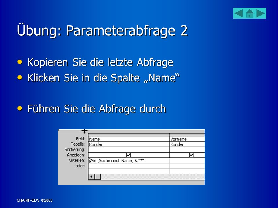 Übung: Parameterabfrage 2