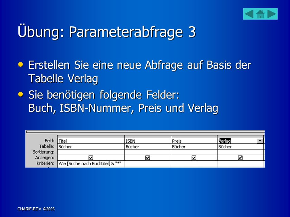Übung: Parameterabfrage 3