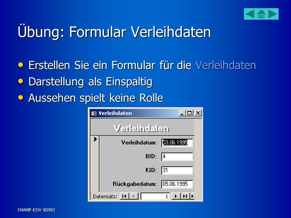 Übung: Formular Verleihdaten