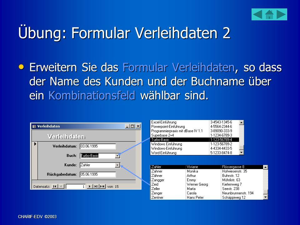 Übung: Formular Verleihdaten 2