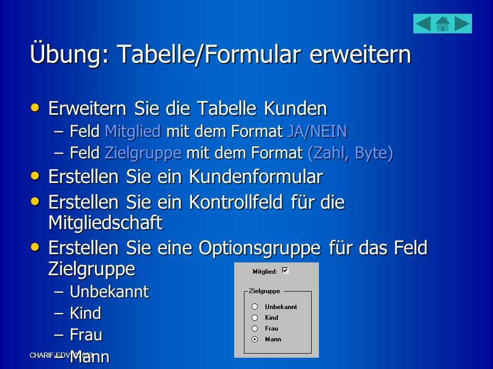 Übung: Tabelle/Formular erweitern
