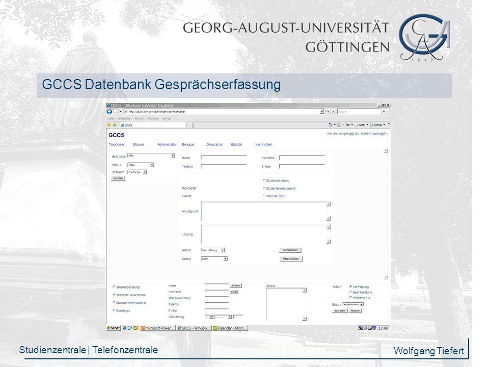 GCCS Datenbank Gesprächserfassung