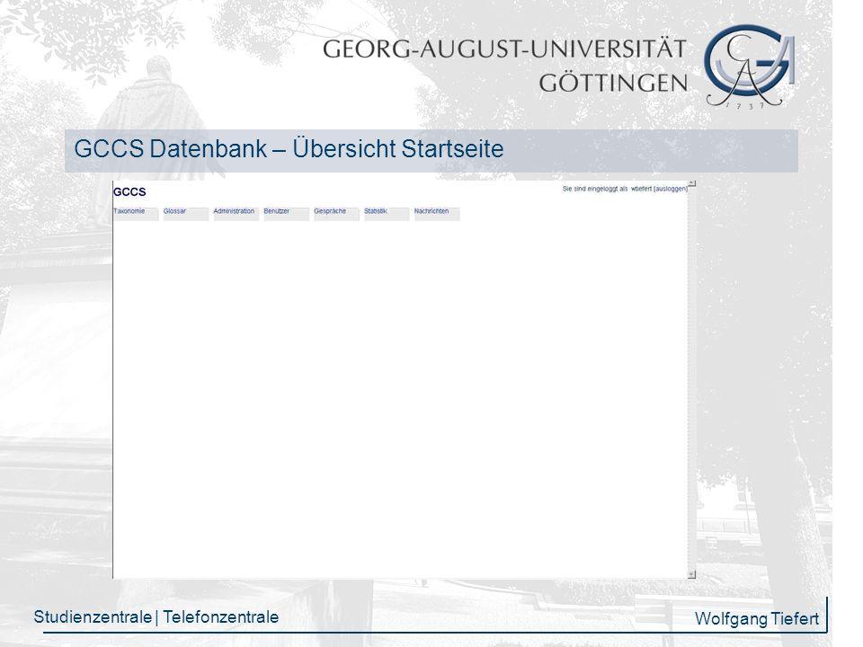 GCCS Datenbank – Übersicht Startseite