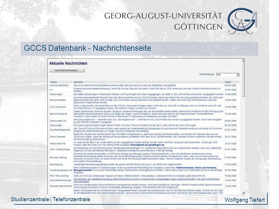 GCCS Datenbank - Nachrichtenseite
