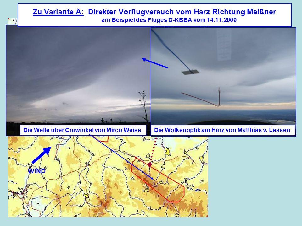 Zu Variante A: Direkter Vorflugversuch vom Harz Richtung Meißner am Beispiel des Fluges D-KBBA vom 14.11.2009