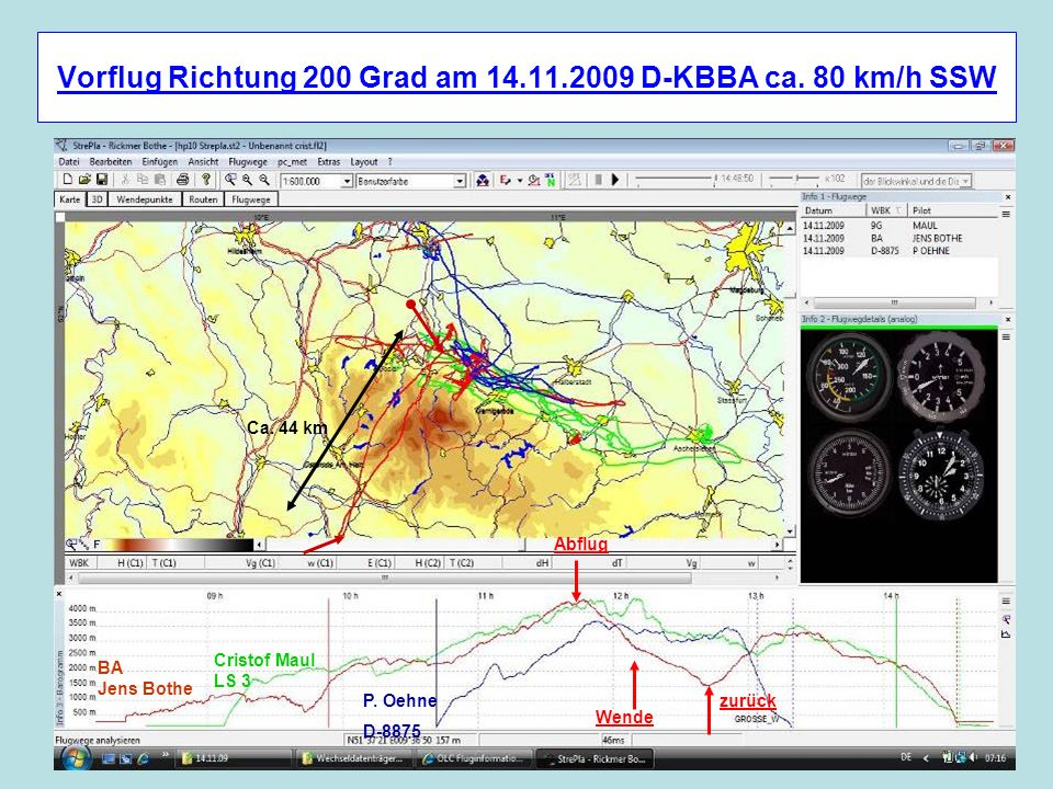 Vorflug Richtung 200 Grad am 14.11.2009 D-KBBA ca. 80 km/h SSW