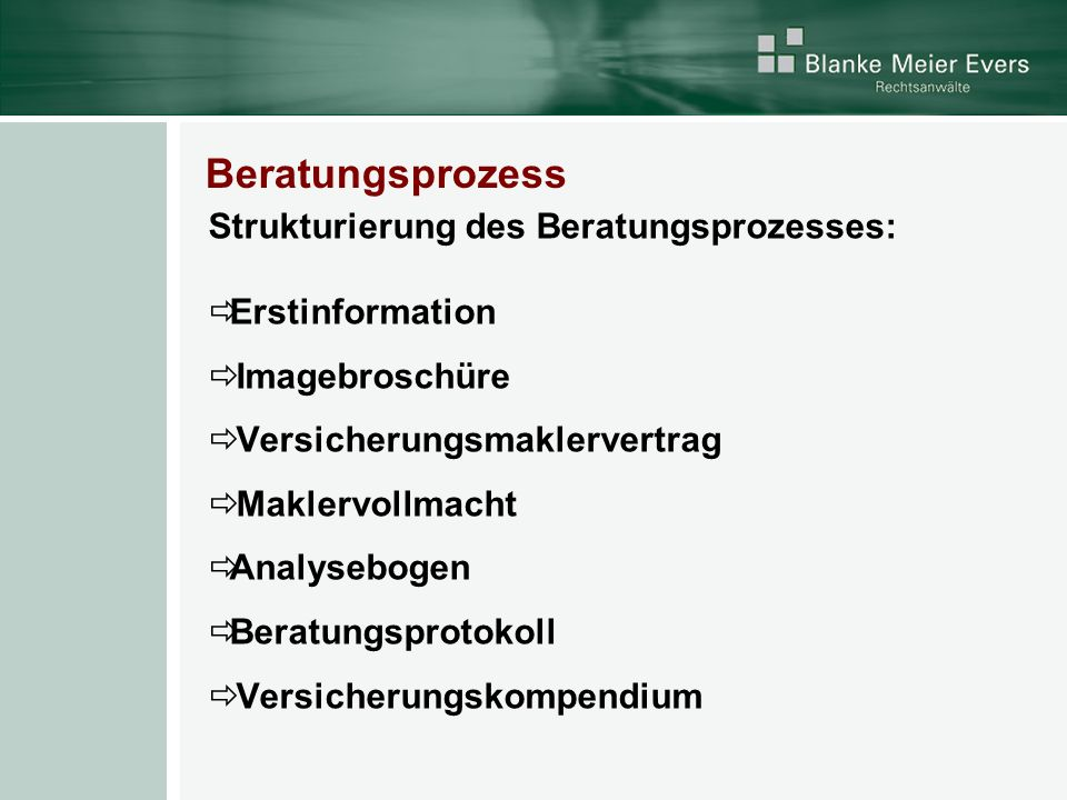 Beratungsprozess Strukturierung des Beratungsprozesses: