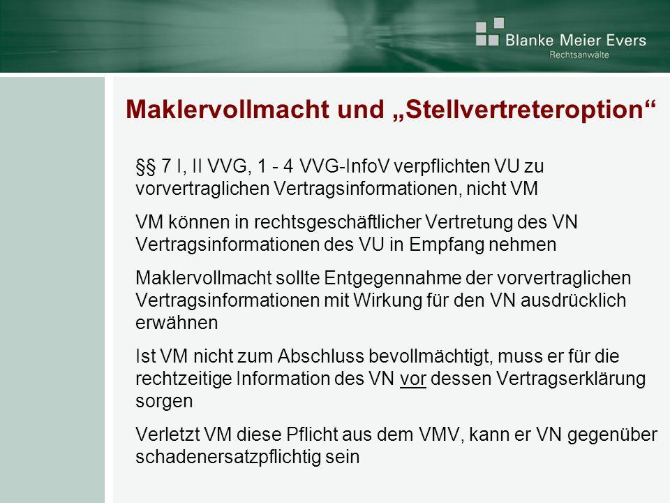 """Maklervollmacht und """"Stellvertreteroption"""