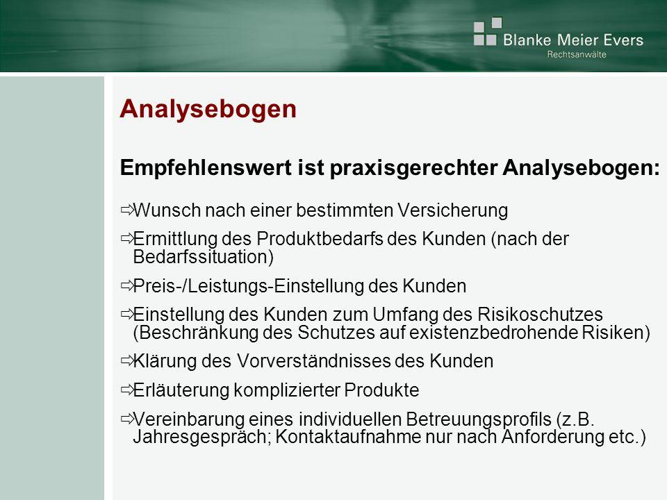 Analysebogen Empfehlenswert ist praxisgerechter Analysebogen: