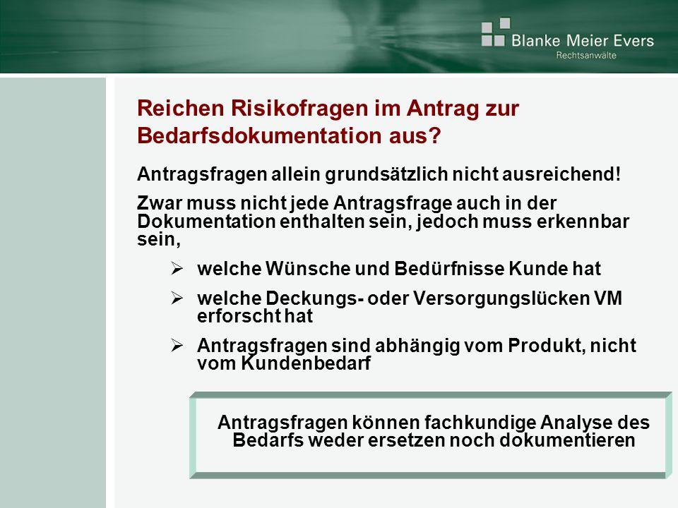 Reichen Risikofragen im Antrag zur Bedarfsdokumentation aus