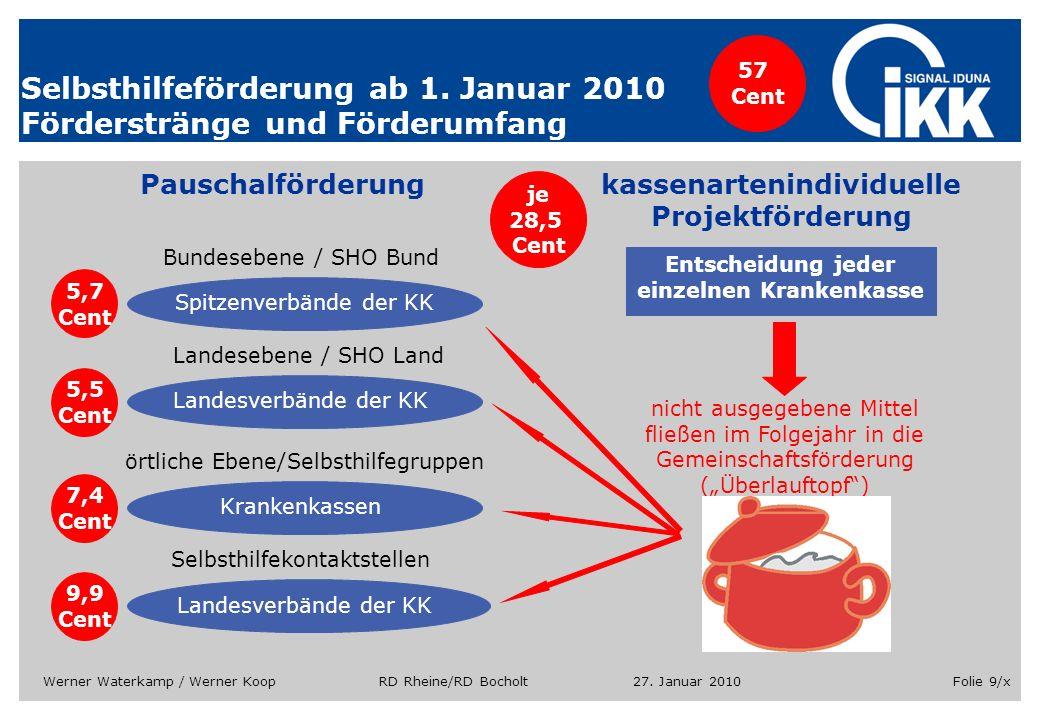 Selbsthilfeförderung ab 1. Januar 2010 Förderstränge und Förderumfang