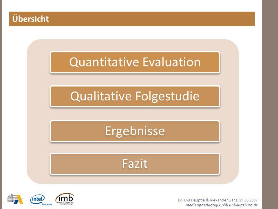 Übersicht Quantitative Evaluation Qualitative Folgestudie Ergebnisse