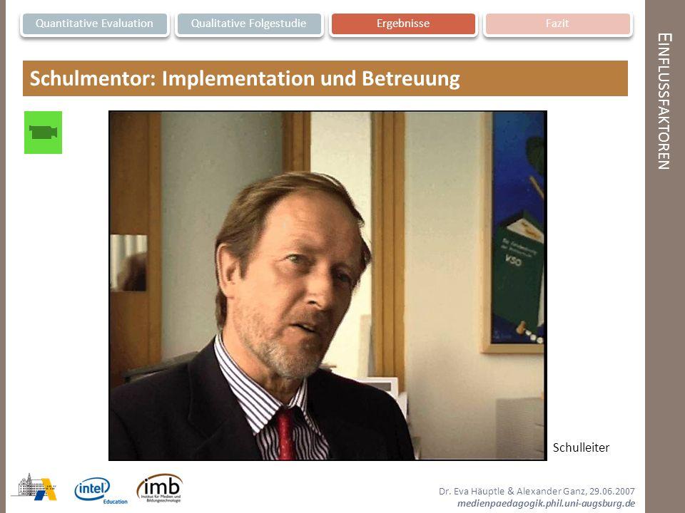 Schulmentor: Implementation und Betreuung
