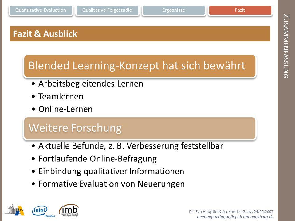 Fazit & Ausblick Zusammenfassung Quantitative Evaluation