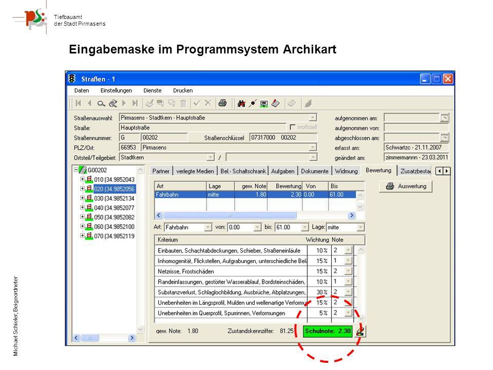 Eingabemaske im Programmsystem Archikart