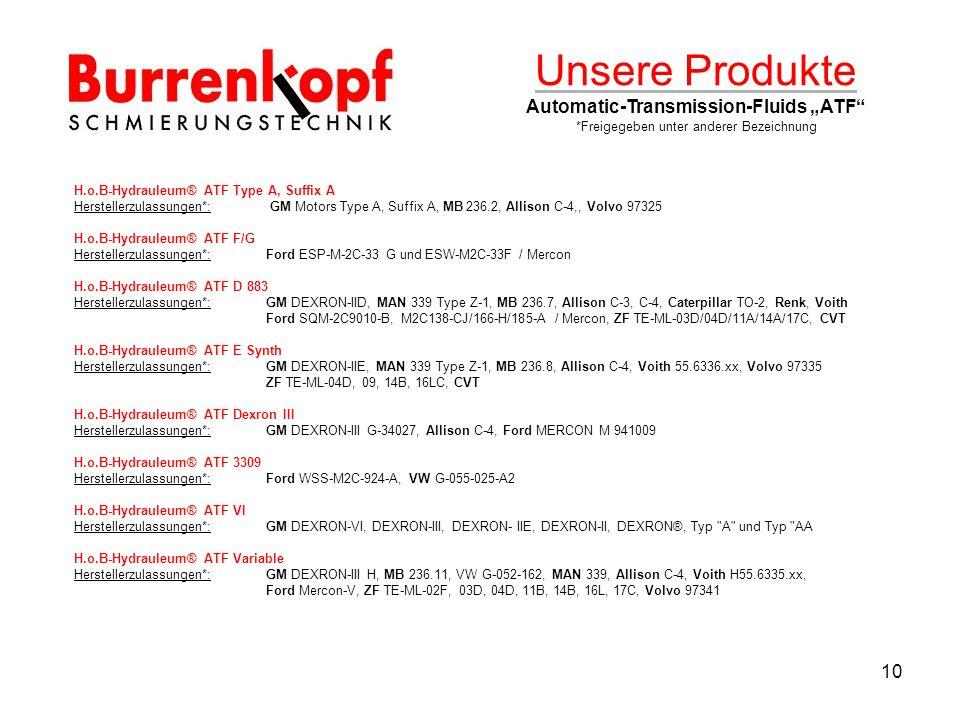"Unsere Produkte Automatic-Transmission-Fluids ""ATF"