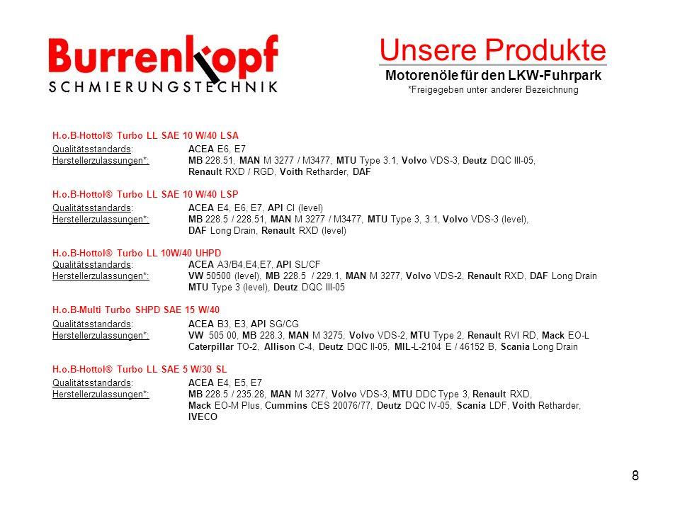 Unsere Produkte Motorenöle für den LKW-Fuhrpark