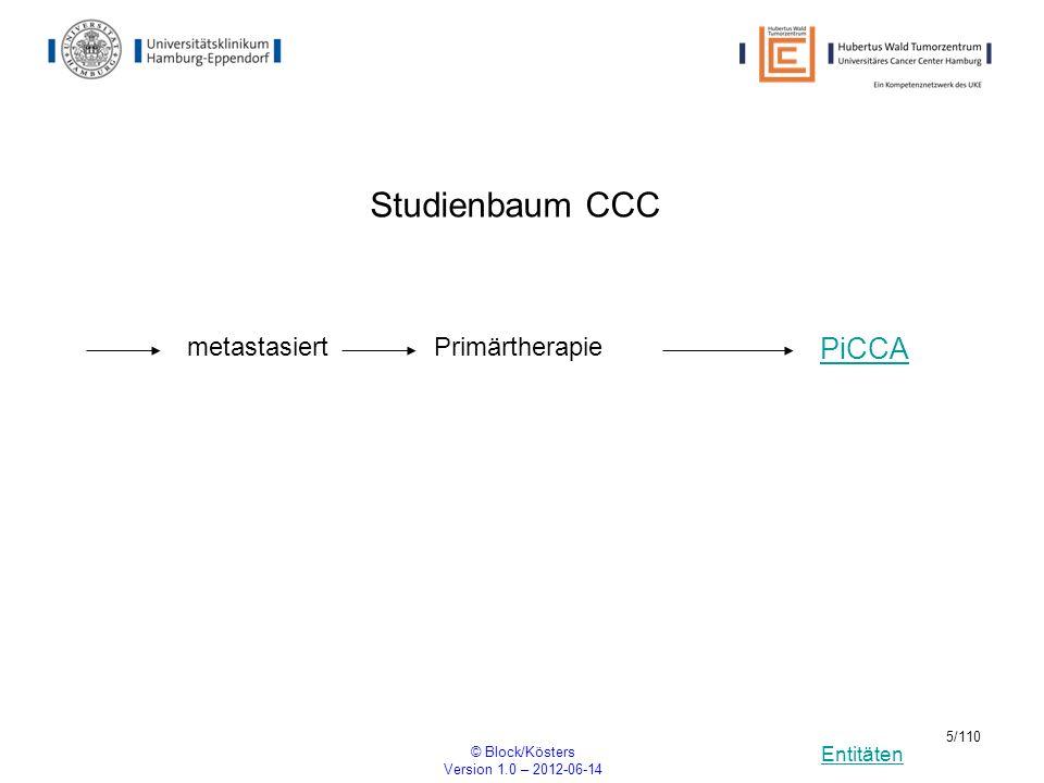 Studienbaum CCC PiCCA metastasiert Primärtherapie © Block/Kösters