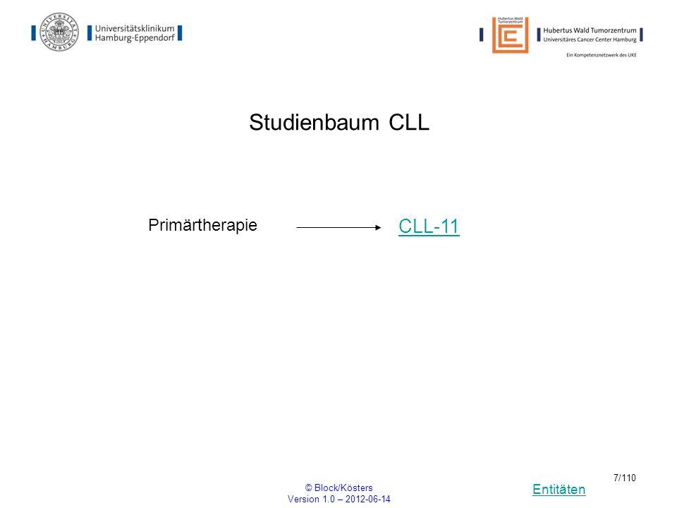 Studienbaum CLL CLL-11 Primärtherapie © Block/Kösters
