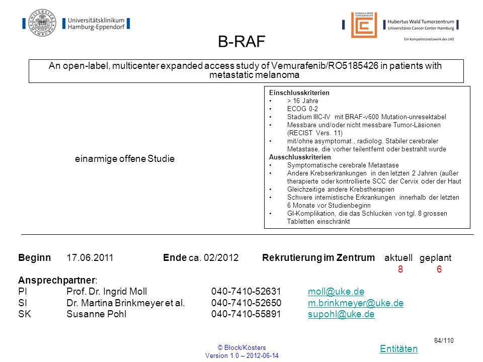 B-RAF An open-label, multicenter expanded access study of Vemurafenib/RO5185426 in patients with metastatic melanoma.