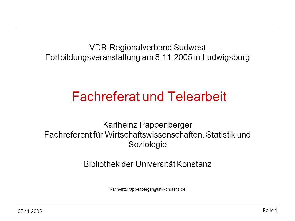 VDB-Regionalverband Südwest Fortbildungsveranstaltung am 8. 11