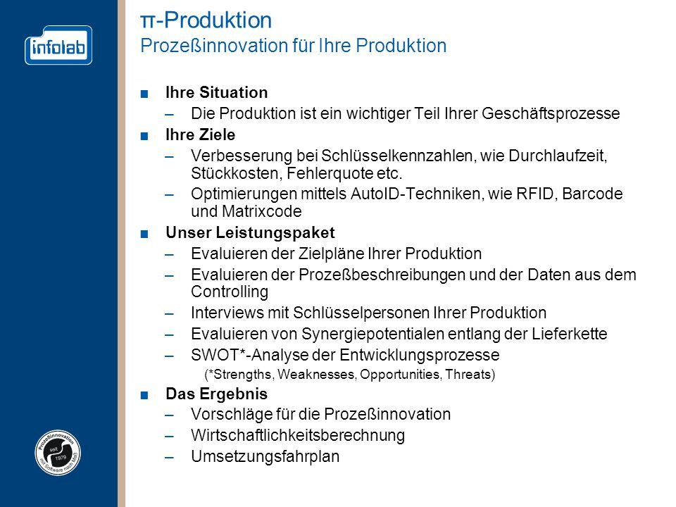 π-Produktion Prozeßinnovation für Ihre Produktion