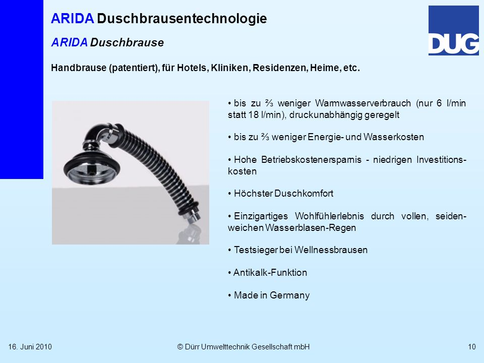 ARIDA DuschbrauseHandbrause (patentiert), für Hotels, Kliniken, Residenzen, Heime, etc.