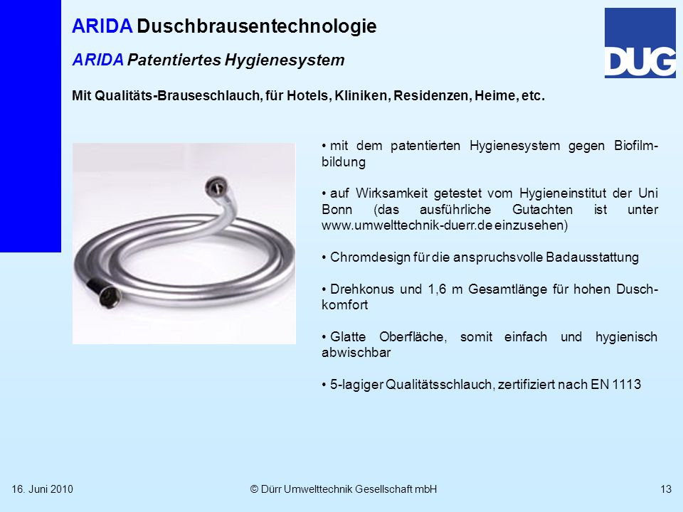 ARIDA Patentiertes Hygienesystem