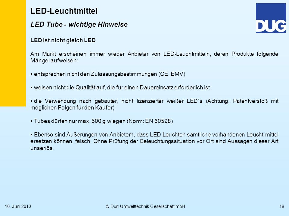 LED Tube - wichtige Hinweise
