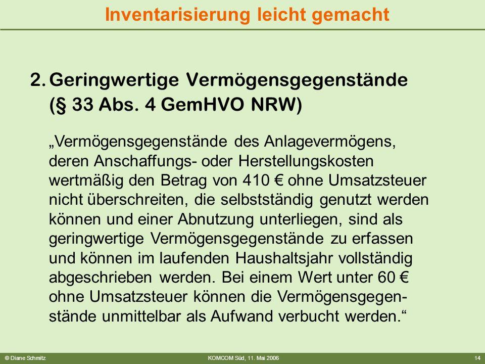 Geringwertige Vermögensgegenstände (§ 33 Abs. 4 GemHVO NRW)