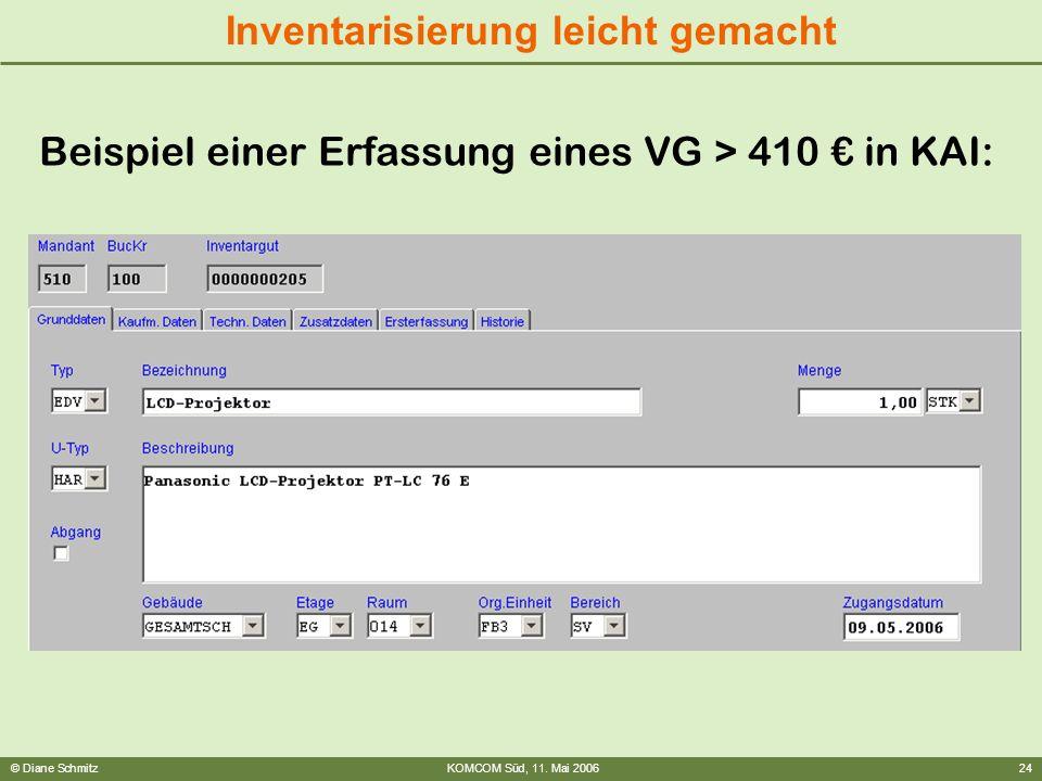 Beispiel einer Erfassung eines VG > 410 € in KAI: